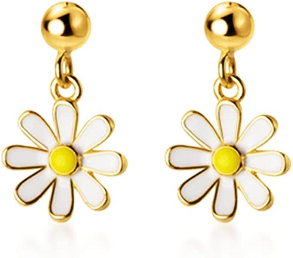 SLUYNZ 925 Sterling Silver Daisy Dangle Earrings for Women Girls Little Flower Drop Earring Mini Ball Stud Earring
