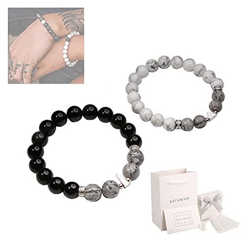 HHZZ Feng Shui Black Obsidian Wealth Bracelet, Anti-Swelling Black Obsidian Anklet, Lucky White Turquoise Map Stone Bracelets for Couples (2 PCS Map Stone Bracelets for Couples)