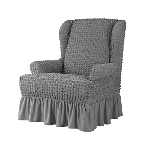 VanderHOME Stretch Sesselbezug mit Rüschen Ohrensessel husse Sessel-Überwürfe Ohrensessel Überzug Sofabezug Stretchbezug Stretchhusse Sofabezug Moderne dunkelgrau