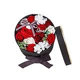 Honrik Soap Flower Rose Gift Box, Perfumed Soap Preserved Rose Scented Fancy Soap Gift Box Bath Soap Rose Petal Paper Fancy Soap Flashing Heart Design for Girls Valentine's Day Wedding Anniversary