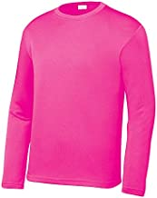 OPNA Youth Athletic Performance Long Sleeve Shirts for Boys or Girls-Moisture Wicking, Small, Neon Pink