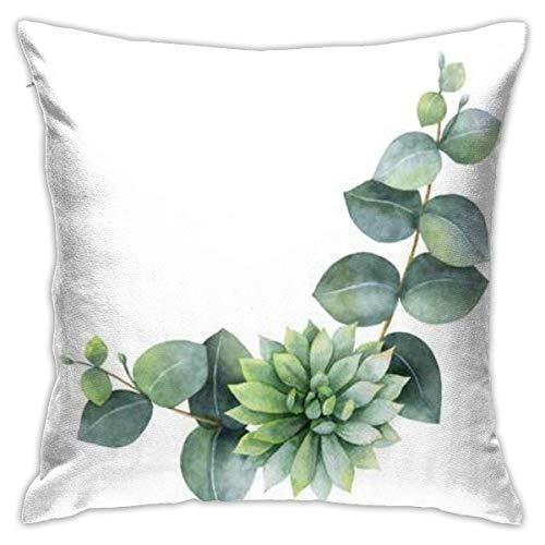 jichuang Funda de almohada con diseño de hojas de eucalipto, funda de almohada con cremallera oculta