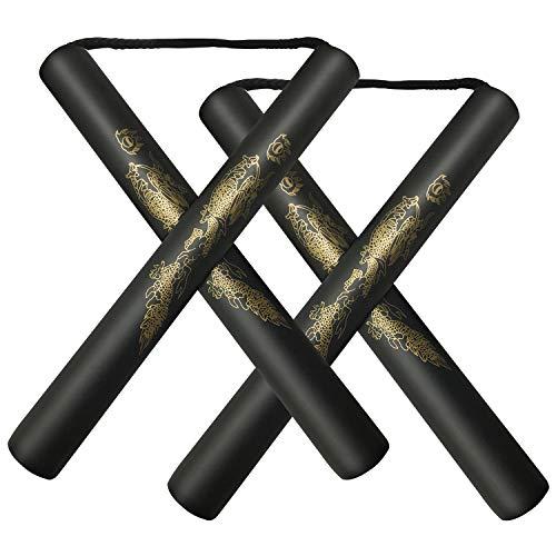 Beyck Nunchucks Nunchakus-Foam Safe Rubber Martial Arts Nunchakus for Kids/Beginner Practice(Black-2 Pack)