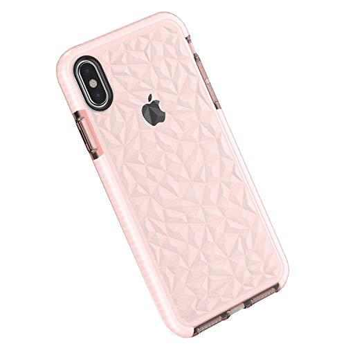 Funda Compatible con iPhone XS MAX, Carcasa Silicona Transparente Protector TPU Airbag Anti-Choque Ultra-Delgado Case 3D Modelo Geométrico de Diamante Funda para Teléfono (iPhone XS MAX, Rosa)