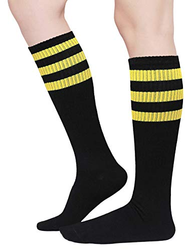Henwarry Classic Triple Stripes Over the Calf Cotton Retro Tube Socks for Men and Women - - One size