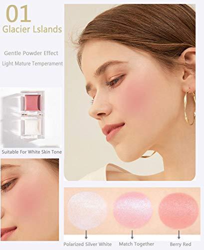 Ensemble de combinaison Ensemble de combinaison surligneur mini blush, outil de combinaison pour surligneur blush pour femmes,peut cacher les pores,la forme de la glace est facile transporter,Rose