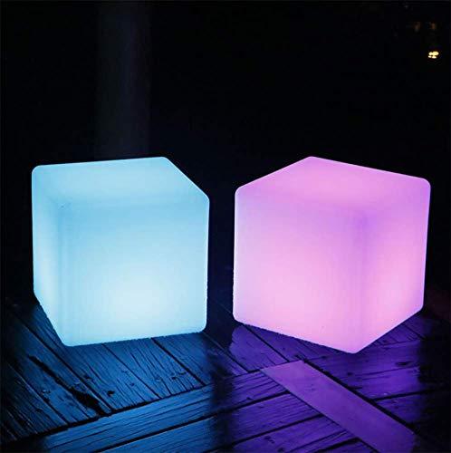 JINGBO Taburete Cubo LED, Luz Nocturna Intemperie con IP67 Impermeable -5 Brillo Regulable -16 Colores RGB Ajustables -4 Modos de Color-cambiante [Clase de eficiencia energética A],50 * 50 * 50cm