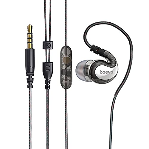 Auleset Universal 3.5mm Plug In-Ear Wired HiFi Bass Music Auriculares con micrófono compatible con iPhone y Android, PC Gaming, MP3 - Negro