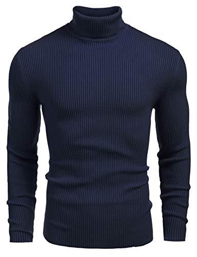 COOFANDY - Suéter de punto de cuello alto para hombre, Azul zafiro, Small