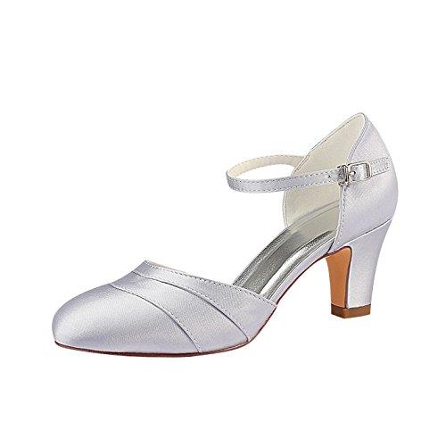 Emily Bridal – Hochzeitsschuhe Damen-Pumps aus seidenähnlichem Satin, mit Absatz, geschlossene Spitze, Silber - silber - Größe: 38 EU