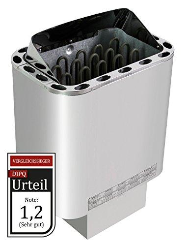 WelaSol Edelstahl Saunaofen Next von 4,5 kW/für finnische Sauna von 3-6m³ / geeignet für externe Steuerung bis 9 kW/ohne WelaSol Saunasteine
