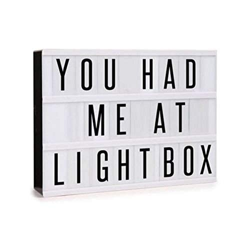 Lightess Cinema Light Box with Free Combination Letters and LED Light Message Board Lamp A4 Size, 90 Signs