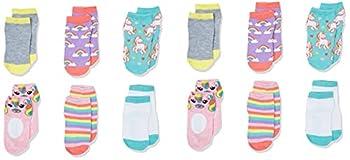Cherokee Girls  Little 12 Pack Shorty Socks Double Rainbow Unicorn 2T-4T