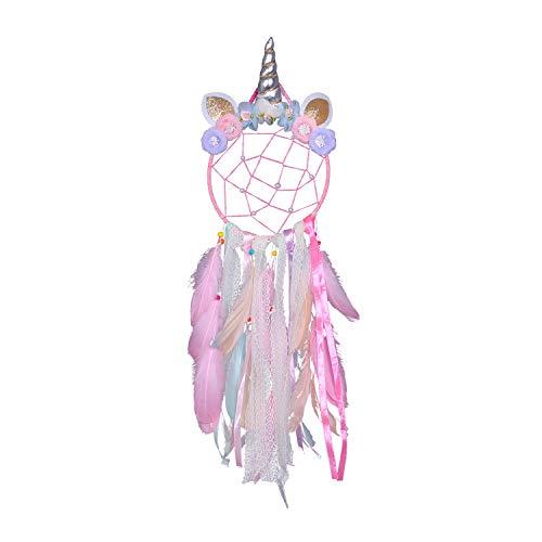Nice Dream Einhorn Traumfänger, Handgemachte Federn Traumfänger für Mädchen Kinder Schlafzimmer Dekoration, für Wandbehang Wohnkultur, Geburtstags (Rosa)