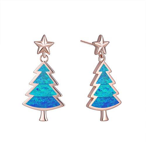 Plata 925 Pendientes Mujer, Árbol De Navidad De Ópalo Azul Europeo Clips...