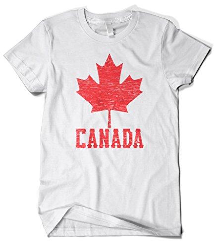 Cybertela Men's Canadian Flag Canada Maple Leaf T-Shirt (White, Large)