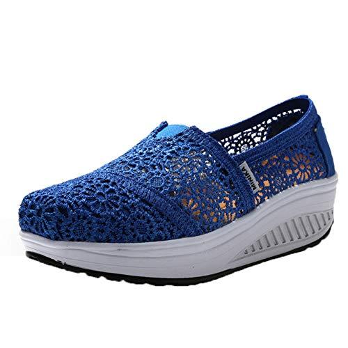 Zapatillas de Deporte para Mujer, Zapatos de Plataforma, usable, Casual, resbalón al Aire Libre, Primavera, otoño, Zapatos clásicos Gruesos para el Trabajo, Creepers de Malla