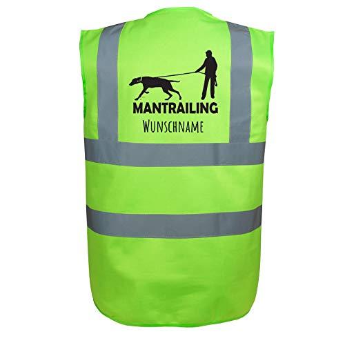 Mantrailing Hundesport Warnweste Sicherheitsweste mit Namen oder Text personalisiert (Motiv 8) Grün S