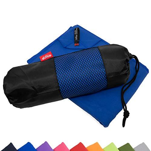 diMio Mikrofaser Reisehandtuch schnelltrocknend - Handtuch mit Tasche (80x180cm, Blau)