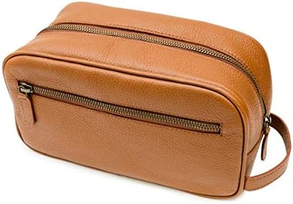 Maruse Italian Leather Toiletry Travel Bag with 2 Zippered Closures for Men and Women Handmade product image