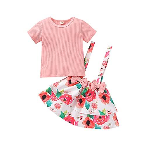 Kavousa Traje de verano para niños, camiseta de manga corta acanalada de color sólido + vestido de mono floral para niñas