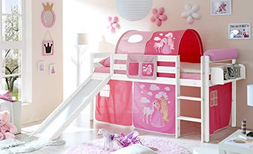 Hochbett mit Rutsche Rutschbett Manuel Kiefer massiv Weiss mit Farbauswahl, Vorhangstoff:Horse Pink