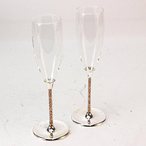 Boxer Flûtes à champagne en plaqué argent doré avec tiges en cristal 50e anniversaire