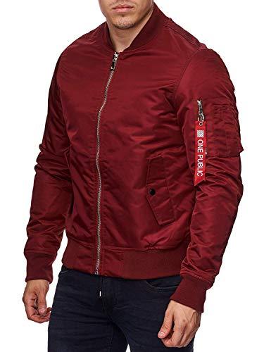 Bavarigo Herren Bomber Jacke Slim-Fit, Farbe: Rot, Größe: M