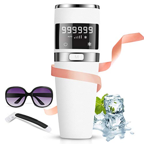 IPL Depiladora de Luz Pulsada, 999,999 Flashes Dispositivo láser de depilación, Depiladora Luz Pulsada con Hielo/indoloro, Depilación permanente Compresor de hielo 5 niveles para cara/Bikini/axilas