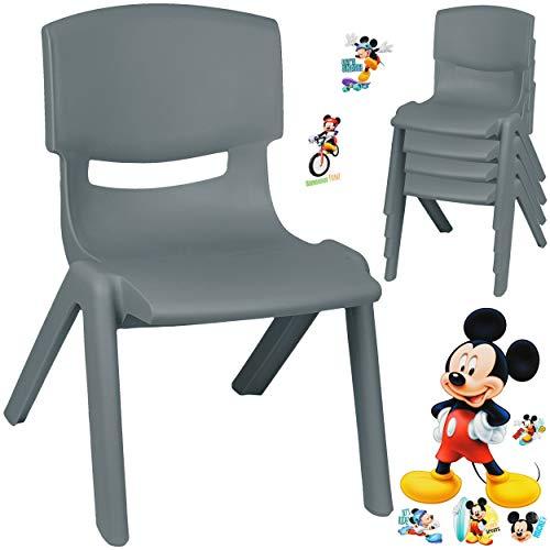 alles-meine.de GmbH Kinderstuhl / Stuhl - Motivwahl - grau - anthrazit + Sticker - Disney Mickey Mouse - inkl. Name - Plastik - bis 100 kg belastbar / kippsicher - für INNEN & AU..