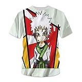 hengshukeji Naruto Jiraiya Camiseta Verano de Manga Corta 3D patrón Masculino Pareja Japonesa Suelta Hombres Camisa de Manga Media Ropa de Clase Marea RR0730-Negro_Medio