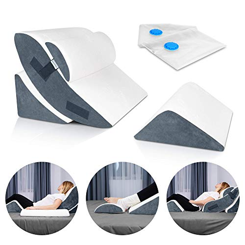 Lunix LX5 4pcs Orthopedic Bed Wedge Pillow Set, Post Surgery Memory Foam for Back, Neck and Leg Pain Relief. Sitting Pillow, Comfortable and Adjustable Pillows Acid Reflux and GERD for Sleeping Navy
