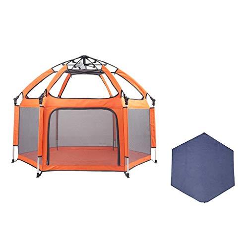 XHCP Zaun für Kinder - Faltbarer und kompakter Kindersicherheitszaun Bester Zaun für Kinder mit UV-Zelt für Familien, Reisen, Parks oder Strände (Farbe: orange)