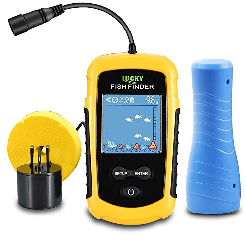 LUCKYLAKER Ice Portable Fishing Fish Finder Wired Handheld Fishing Finders Kayak Sonar Sensor Fish Finder Transducer Depth Finder LCD Monitor for Boat Canoe