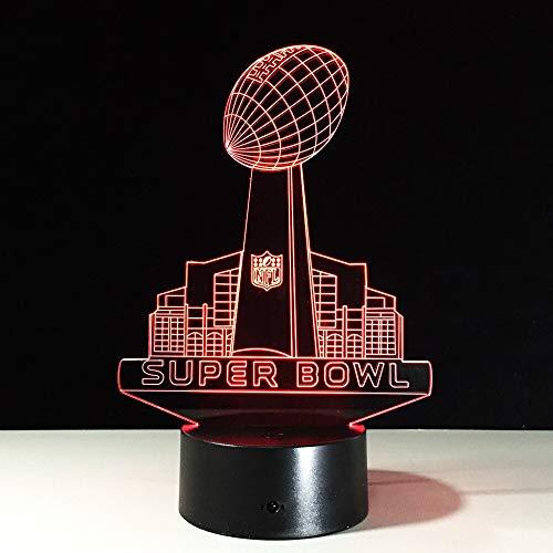 Lámpara de mesa de rugby nocturna con luz LED 3D, lámpara de ilusión para dormitorio, sala de estar, 7 colores, lámpara LED con Usb, lámpara 3D, regalo de Navidad