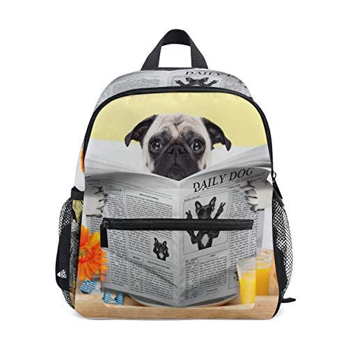 Overlooked Shop Hundemuster Rucksäcke für Mädchen Jungen Schultasche Lieferungen Mops Hund Lesen der Zeitung Frühstück wasserdichte süße Büchertaschen Schultaschen