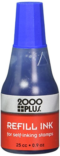 2000Plus Refill Ink for Self-Inking Stamps, 25cc (0.9 oz) Squeeze Bottle, Blue - COS032961