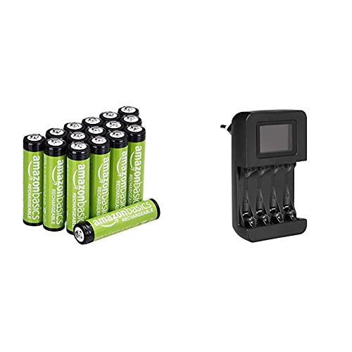 Amazon Basics AAA-Batterien, 800 mAh, wiederaufladbar, 16 Stück und Intelligentes, digitales Akku-Ladegerät für 4 AA-, AAA-Akkus