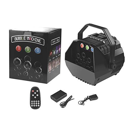 Pequeña máquina de pompas de jabón UKing con luces RGB, máquina de burbujas automática, control remoto para niños, fiestas, bodas, sopladores