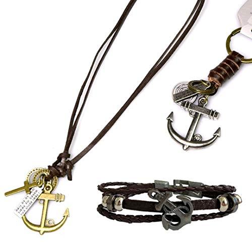 Novadis Collar Hombre Colgante Collar Cuerno Ancla Pulsera Hombre Cuero Llavera Cuerno Marrón - Conjunto 3 Piezas