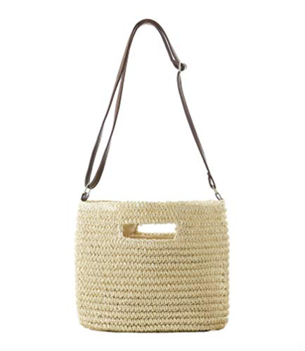 Fabric: paper rope Lining: polyester Popular elements: weaving Measurements: upper width: 34CM, lower width: 30CM, handle height: 60CM Straw bags are handmade bags, production materials are mostly aquatic plants, corn husks, straw, paper string, vine...