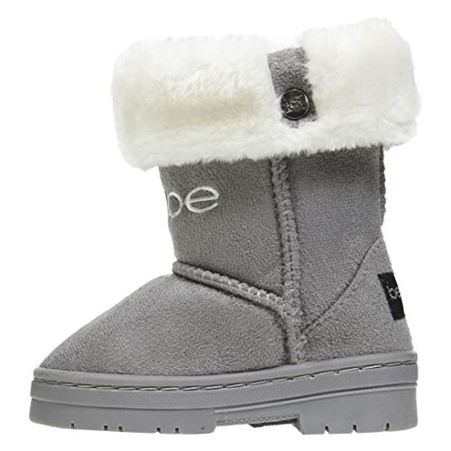 bebe Toddler Girls Microsuede Winter Boots Size 9 with Faux Fur Cuffs Comfort Slip-On Shoes Grey