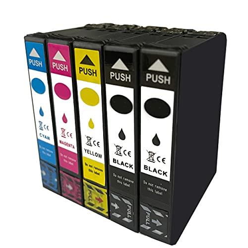 Hyggetech 5 cartucce di inchiostro compatibili come ricambio per stampanti Epson 502 502XL Expression Home XP-5105 XP-5100 Workforce WF-2860DWF WF-2865DWF XP5105 WF-2860
