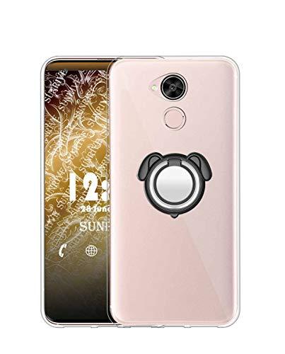 Sunrive Funda para Huawei GX8/G8, Silicona Transparente Gel Carcasa Case Bumper Anti-Arañazos Espalda Cover Anillo Kickstand 360 Grados Giratorio(Colorear Negro) + 1 x Lápiz óptico