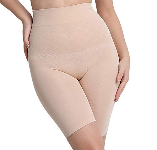 GUANCHI Women's Cotton Lycra Tummy Control 4-in-1 Blended High Waist Tummy & Thigh Shapewear Beige _T02