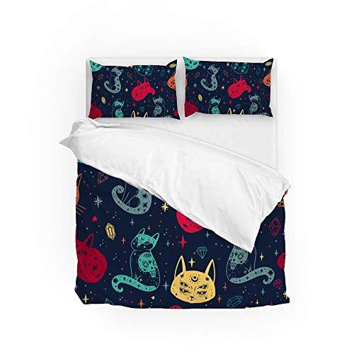 161 Soft Quilt Bedding Set Colorful Witchs Cat Duvet Cover with 2 Pillowcases Set 3 PCS 200 x 200 CM, Double Size