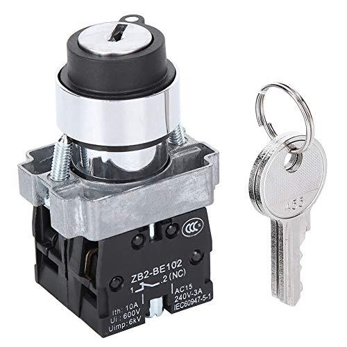 2 Position Schlüsselschalter Starterschalter Selbstrücksetzende Power Lock Conversion Rotationssperre + Schlüssel ZB2 - BE101