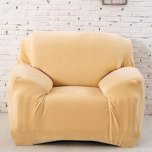 Zairmb Terciopelo de Cristal Felpa Funda Cubre Sofá Elasticas Universal Funda de sillón Espesar Suave Ajustable Fundas de Sofá para sofá seccional-74-90in Beige