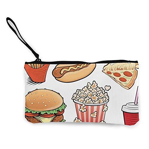 Moneda de lona, artículos de hamburguesas, bolsa de cosméticos con cremallera, bolsa de maquillaje multifunción para teléfono móvil, bolsa de lápiz con asa