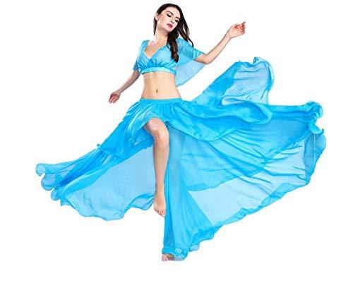 SMACO Falda de Danza del Vientre Conjunto de Traje de Danza del Vientre para Mujer Ropa de Danza del Vientre Sexy Top y Falda Vestidos Bailarina Disfraz de Gasa para Mujer Color sólido
